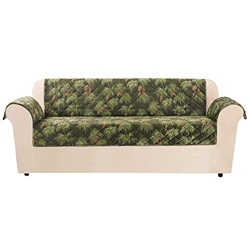 SureFit  Lodge Sofa Pet Throw/Slipcover with Arms, Pinecone Evergreen (Holiday Furniture)