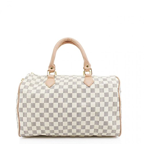 (Women Duffel Style Handbag Ladies Barrel Shape Twin Grab Handle Bags Shoulder (Beige))
