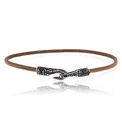 Sovats Antique Hook 925 Sterling Silver Rhodium Plated Charms With Brown Leather Bracelet For Men - Simple, Stylish &Trendy Nickel Free Bracelet