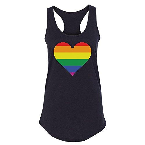(Christmas Ugly Sweater Co Rainbow Heart Gay Pride Women's Racerback LGBT Walk Gift Pride Shirt Black)