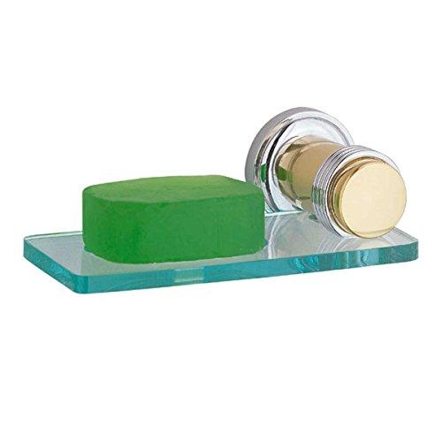 Renovator's Supply Glass Soap Dish Holder Victorian Spectrum Brass ()