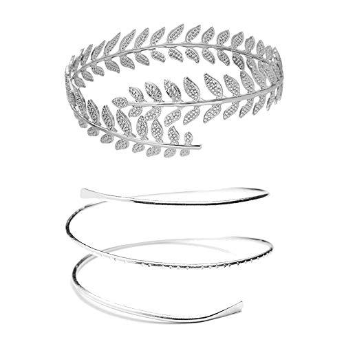 MANZHEN Fashion Gold Tone Swirl Leaf Upper Arm Bracelet Armlet Cuff Bangle Armband Adjustable ()