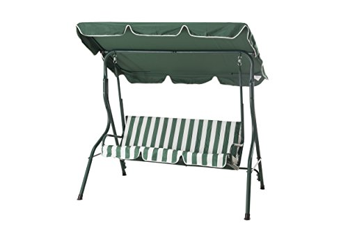 Sunjoy Coral Coast Tortuga Cay 3-Seat Striped Adjustable Tilt Canopy Metal Swing by sunjoy