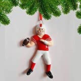 Personalized Football Boy Christmas Ornament 2018 - Goal Star Team Athlete Playing in Red Uniform Helmet Running Gridiron Score Profession Hobby - School Coach NFL Grand-Son - Free Customization