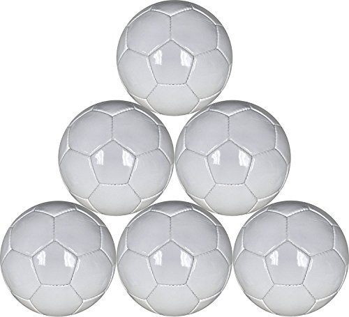 White mini soccer balls Six Pack Size 1 for practice and Kids - 48 cm circumference by Best Soccer Buys