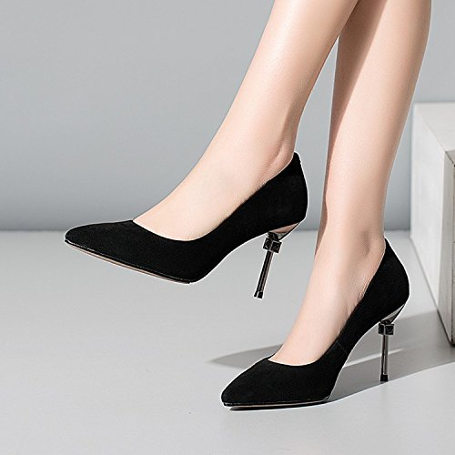 High heels Heel Shallow Single Mouth Shoes Fine Pointed High Black Jqdyl Heel OYqRn