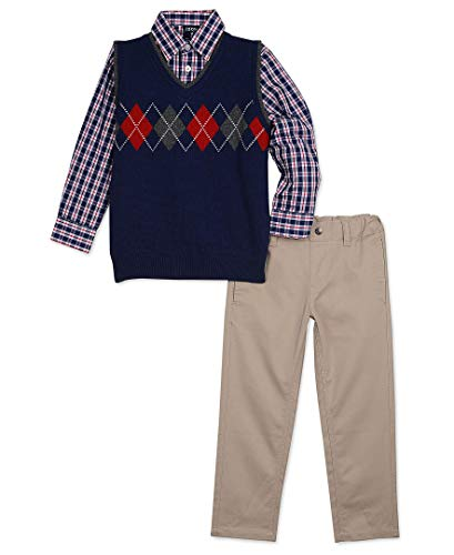Izod boys 3-Piece Sweater Vest, Dress Shirt, and Pants Set, Midnight, X-Large(7) -