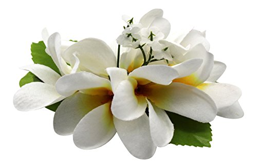 Hawaii Luau Party Artificial Fabric Plumeria Hair Clip White with Yellow Heart (The Hangover Costume)