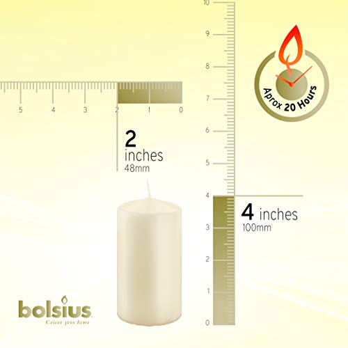 BOLSIUS Tray of 4 Ivory Pillar Candles - 20 Long Burning Hours Candle Set - 2-inch x 4-inch Dripless - coolthings.us