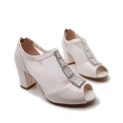 VogueZone009 Womens Open Peep Toe Kitten Heel Mesh Soft Material Solid Sandals with Glass Diamond, White, 3.5 UK