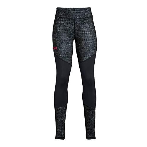 Girls Coldgear Legging (Under Armour Girls' Coldgear Novelty Leggings, Black (002)/Penta Pink, Youth Small)