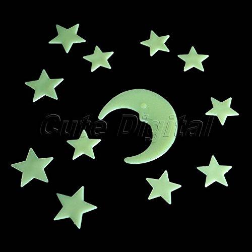 Moon Star Glow In Dark Luminous Fluorescent Wall Sticker Decal Kid Bedroom Decor
