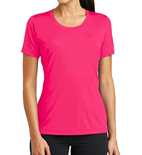 Miracle(Tm) Neon Moisture Wicking Thermal Undershirt - Women Short Sleeve Pink Shirt - Koi Neon