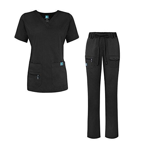 Adar Indulgence Jr. Fit Women's Scrub Set - Enhanced V-Neck Top/Multi Pocket Pants