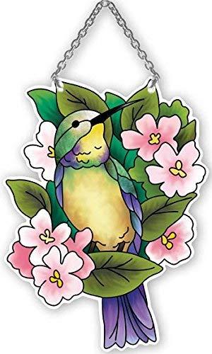 Joan Baker Designs Hummingbird & Lilies Stained Glass Suncatcher (SSD1006R)