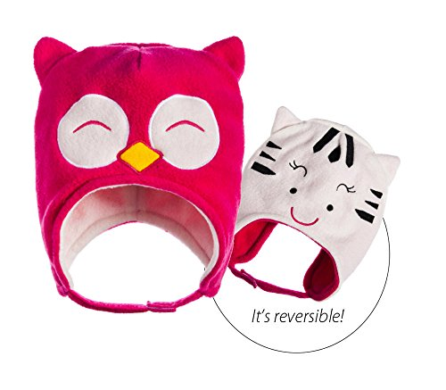 Blossoms & Buds Owl and Cat Reversible Fleece Hat