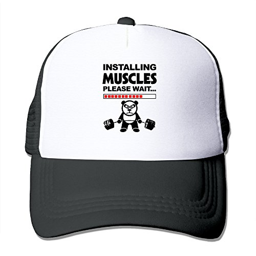 Muscle Man Circus Costume (Installing Muscles Please Wait Unisex Grid Baseball Caps Hiphop Cap Adjustable Customize Black)