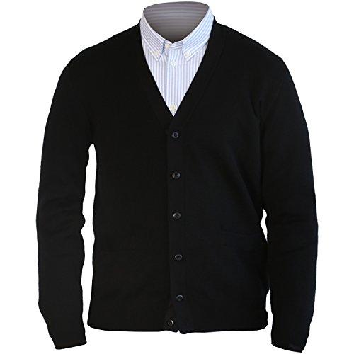 MARMO DI CARRARA Mens 100% Merino Wool Cardigan Sweater Black Knitted Classic Fit Button UP