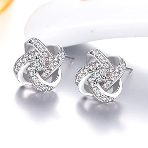 Time Pawnshop Elegant Love Knot Sterling Silver Cubic Zirconia Charm Lady Stud Earrings by Time Pawnshop (Image #1)