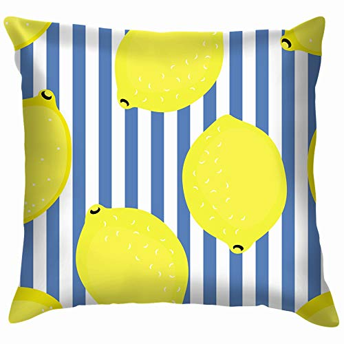 Lemon Decorative Yellow Fruit Food and Drink Cotton Throw Pillow Case Cushion Cover Home Office Decorative, Square 24X24 Inch