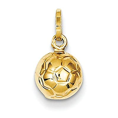 14k Gold Soccer Ball Charm - Measures 13.4x7.8mm by JewelryWeb