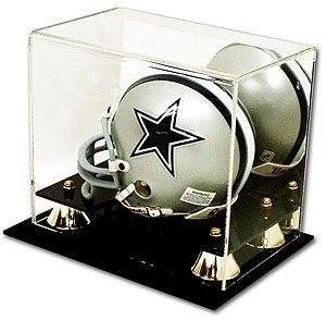 BCW Deluxe Acrylic Mini Helmet Holder Display - With Mirror - Football Helmet, Goalie Mask, Racing Helmet - Sports Memoriablia Display Case - Sportscards Collecting Supplies ()