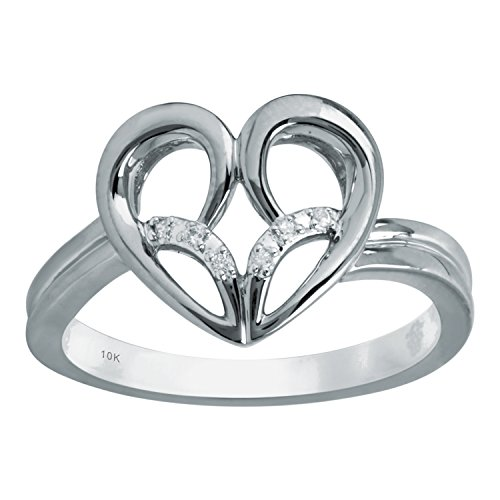 - Jessica Simpson 10K White Gold Diamond Accent Heart Ring