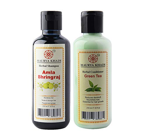 Maurya Khadi Hair Care Collection of Amla Bhringraj Shampoo & Green Tea Conditioner for Healthy and Luster Hair, 420 ml.