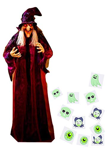 4E's Novelty Hanging Talking Animated Witch Halloween Life Size Prop Decor, Scary Spooky Haunted House Decoration, Light Up Eyes, 71