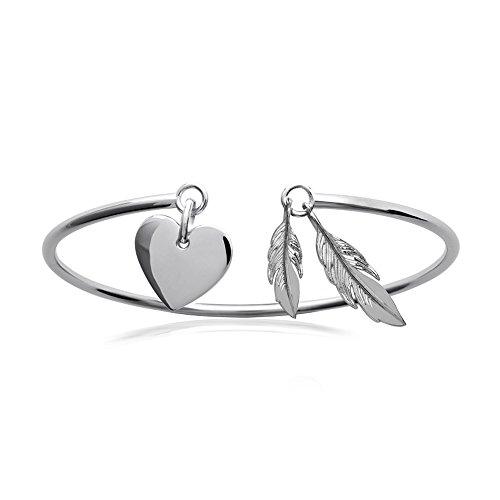 Bracelet Jonc Rigide en Argent 925/000 Rhodié - 3 Pendentifs Breloques : Coeur et Plumes