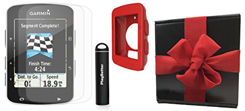 Garmin Edge 520 Gift Box Bundle | with PlayBetter Silicone Case, Portable Charger & HD Screen Protectors | Bike Mounts | GPS Bike Computer | Gift Box (Red, GPS Only) by PlayBetter