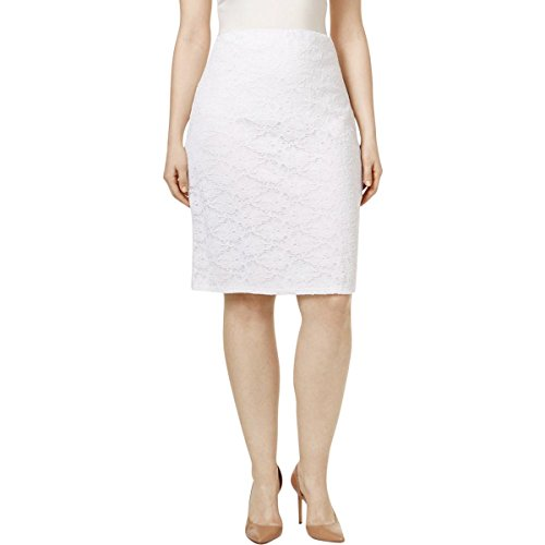 Lace Nylon Skirt - Alfani Womens Plus Lace Knee-Length Pencil Skirt White 24W