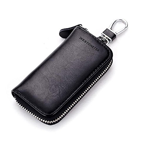 Case Bag Keychain (Unisex Mens Womens Premium Leather Car Key Holder Bag Keychain Case Wallet with 6 Hooks Zipper Closure, Black)