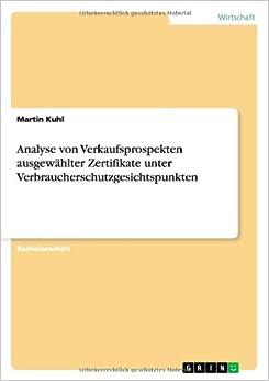 Book Analyse von Verkaufsprospekten ausgewählter Zertifikate unter Verbraucherschutzgesichtspunkten