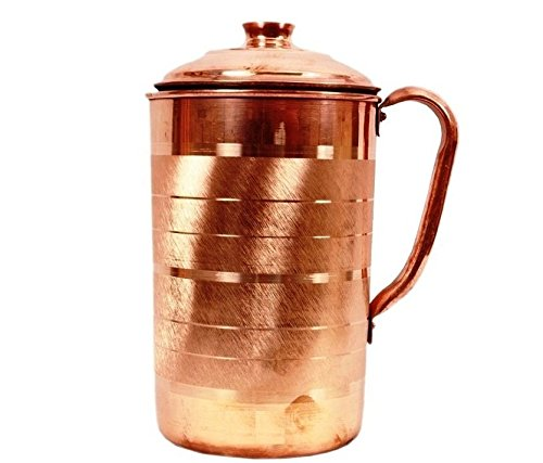 STREET CRAFT Hand Made Luxury Pitchers Pure Copper Jug Pitchers With Lid For Health Benefits Capacity 59 Oz