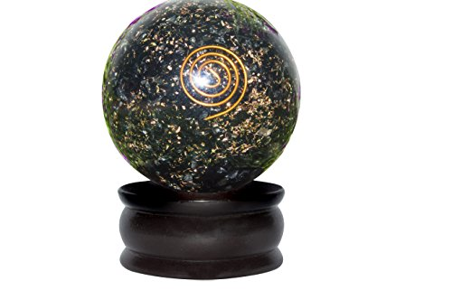 Crocon Black Tourmaline Reiki Healing Orgone Sphere Ball with Stand Gemstone Energy Generator for Chakra Balancing Aura Cleansing & EMF Protection Size: 50-55 mm