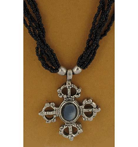 Black Beaded Glass Torsade Cross Crucifix Pendant For Women