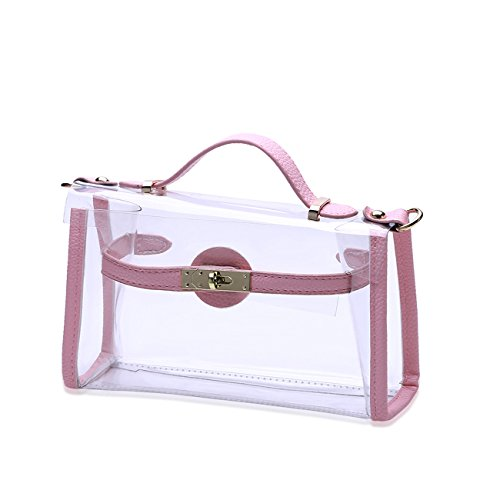 THEE Mujer Bolsos Totes Bolsos Bandolera Transparente Rosa