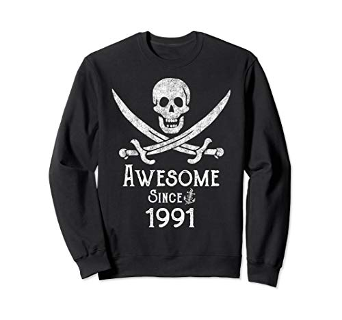 Awesome Since 1991 Vintage Pirate Skull Sword Adult Birthday Sweatshirt