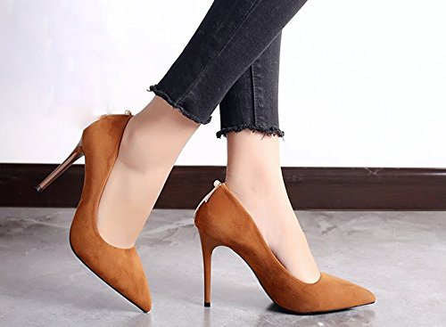 High 10Cm Point Suede A Shoes Brown Lady Spring Match Work Heels Leisure All Sexy Shoes MDRW 38 With Elegant Fine Fwq06vxX