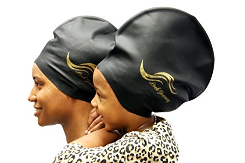 XL BLACK - Silicone Swim or Shower Cap For Dreadlocks, Braids and Longer Hair Styles