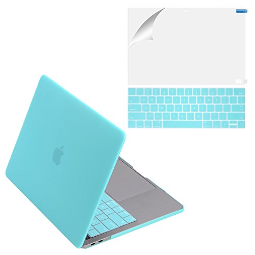 MacBook Pro 13 Case 2017 & 2016 Release A1706/A1708, Mittly Plastic Hard Case Shell Cover with Keyboard Cover &Screen Protector for MacBook Pro 13 Inch with/without Touch Bar & Touch ID, Hot Blue