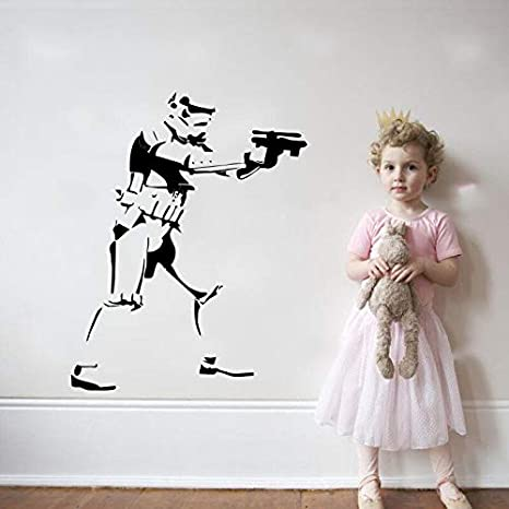 tiro de pistola vinilo adhesivos de pared arte mural moderno F 115.5x135cm