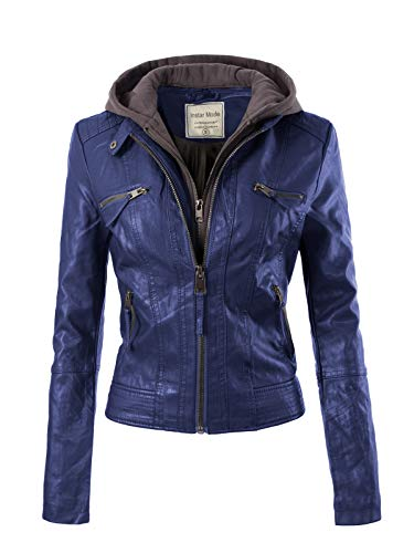 Blue Suede Jacket - Design by Olivia Women's Fashion Motorcycle Faux Leather Hooded Jacket Royal Blue L