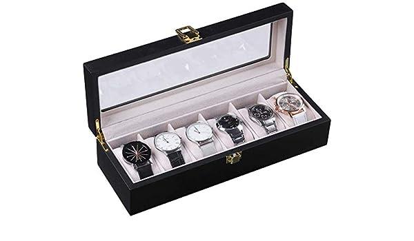 Zeaih 6 Espacios Reloj Protector Caja, Madera Expositor Organizador Elegante Almacenaje Bandeja, Madera Reloj Caja Organizador para Hombre Mujer: Amazon.es: Hogar