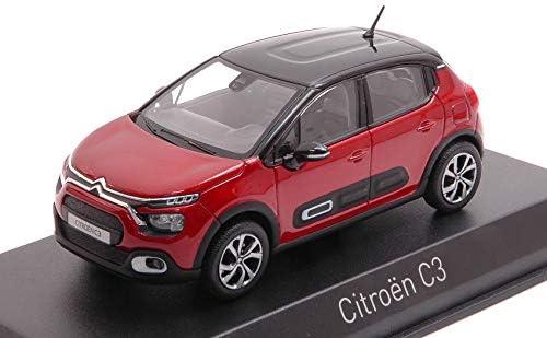Die Cast Modellino Norev CITROEN C3 2020 RED WITH BLACK ROOF 1:43 Auto Stradali