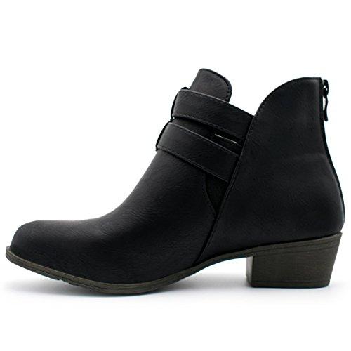 Booties Low Stacked Straps Moda Heel Women's Cl 14 Buckle Premium Ankle Black Top CZqHwvq