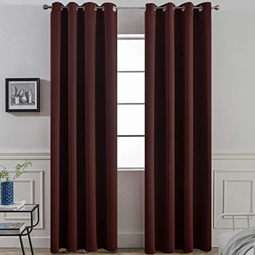 (Yakamok Thermal Insulated Grommet Blackout Curtains with 2 Ties for Bedroom/Living Room, Light Blocking Curtain for Kitchen (52Wx96L, Burgundy red, 2 Panels) )