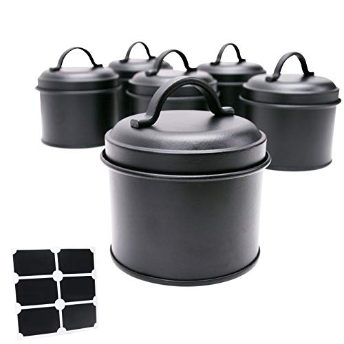 Spice Tins with Lids and Chalkboard Sticker Labels - Set of 6 - Rustic Black Carbon Steel Knick-Knack Containers - Reusable Labeled Multi-Use Arts & Crafts Jars - Storage Organizer - Candle Making Can ()