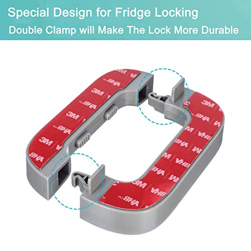 41I%2BR7ubjzL HEOATH Upgrade Home Refrigerator Fridge Freezer Door Lock Latch Catch Toddler Kids Child Baby Safety Lock Easy to Install and Use 3M VHB Adhesive no Tools Need or Drill (Grey,2 Pack)    Product Description